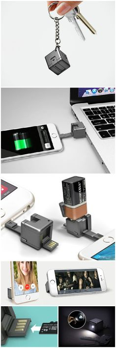 WonderCube - The 1 cubic inch wonder device that packs all your smartphone accesories into one compact gadget that fits on your keychain.