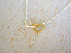 Open Heart Necklace Gold and Silver Heart by PositiveCharm on Etsy