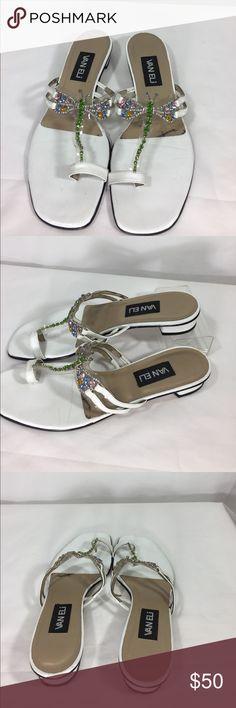 Vaneli rhinestone dragonfly sandals. EUC White VanEli Sandals with rhinestone dragonfly. Vaneli Shoes Sandals