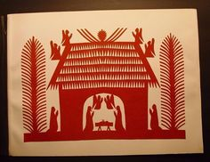 Polish Folk Art Szopka Wycinanki Nativity Scene Kurpie Style Cut-out Vintage   #PolishFolkArt