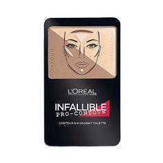 L'Oréal Paris Infallible Pro Contour Palette  Light/Claire .24oz ($12) ❤ liked on Polyvore featuring beauty products, makeup, face makeup, l oreal paris cosmetics, highlight makeup, palette makeup, l'oréal paris and contour brush