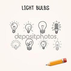Juego de bombillas de luz dibujado a mano, los iconos de la doodle