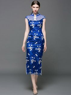 Tea-Length Qipao / Cheongsam Prom Dress with Floral Embroidery