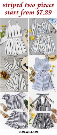 striped two pieces from $7.29