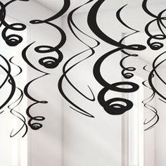 Black Hanging Swirls Decoration - 55cm