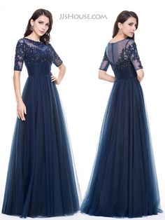 Not fluffy like ball gowns, but with tulle outside, this dress can still make you like a pincess. #JJsHouse #Eveningdresses