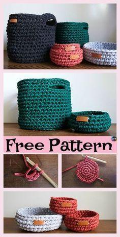 Crochet Diy 8 Most Adorable Crochet Basket Free Patterns Crochet Storage, Crochet Diy, Crochet Home, Crochet Gifts, Learn To Crochet, Crochet Bags, Crochet Pillow, Crochet Ideas, Knitting Projects