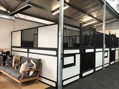 Get a glimpse inside a stunning black and white stable in Australia. It features luxurious stalls and well-appointed interior details. Dream Stables, Dream Barn, Horse Stables, Horse Farms, Black Barn, White Barn, Black White, Luxury Horse Barns, Le Ranch