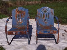 Pair Vintage Cut Out Metal Bouncy Lawn Patio Garden Furniture Chairs