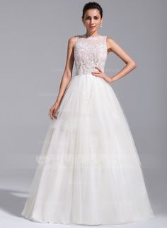 Ball-Gown Scoop Neck Chapel Train Tulle Wedding Dress With Beading Appliques Lace (002071759) - JJsHouse