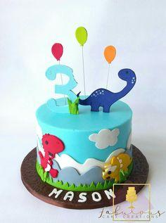 Dinosaur cakr Dinosaur Birthday Cakes, Dinosaur Cake, Dinosaur Party, Barcelona Cake, Dino Cake, Third Birthday, Pretty Cakes, Cake Creations, Birthdays