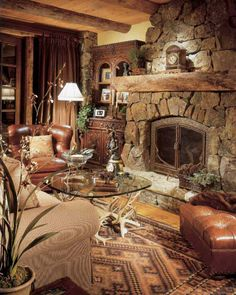 This rustic lodge style home was designed by Jill Sorensen along with RMT Architects, sited in Beaver Creek, a mountain village in Colorado. Cabin Fireplace, Rock Fireplaces, Cabin Decor, Stone Houses, Rustic Design, Lodge Style, Rustic Living Room, Fireplace, Rustic House