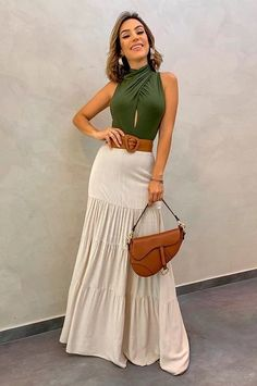 Long Skirt Looks, Modest Fashion, Fashion Dresses, Maxi Skirt Outfits, Casual Outfits, Cute Outfits, Look Street Style, Look Chic, Casual Looks