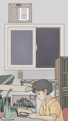 IPhone [Ghibli] hand-painted wallpaper / lock screen when you listen Pop Art Wallpaper, Anime Scenery Wallpaper, Aesthetic Pastel Wallpaper, Cute Anime Wallpaper, Cute Cartoon Wallpapers, Animes Wallpapers, Aesthetic Wallpapers, Wallpaper Backgrounds, Studio Ghibli Art