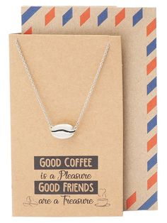 Geneva Coffee Bean Pendant Necklace, Gifts for Coffee Lover, with Inspirational Quote Coffee Uses, Great Coffee, Coffee Blog, Coffee Lover Gifts, Gift For Lover, Coffee Bean Direct, Buy Coffee Beans, Espresso Shot, Friendship Jewelry