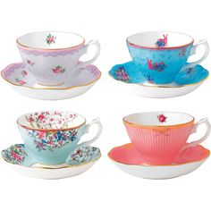 Royal Albert Candy 4-pc. Cup and Saucer Set ($186) ❤ liked on Polyvore featuring home, kitchen & dining, drinkware, royal albert, royal albert cup saucer and royal albert cup and saucer