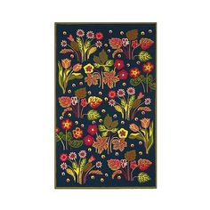 Navy/Green Botanical Hooked Area Rug - (£200) ❤ liked on Polyvore featuring home, rugs, navy rug, green rug, indoor outdoor area rugs, green floral rug and floral hooked rug
