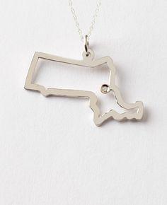 Maya Brenner signature State Necklace-Massachusetts