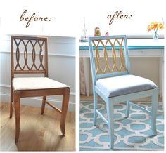 Great DIY metallic paint inspiration | Gold leaf chair before and after