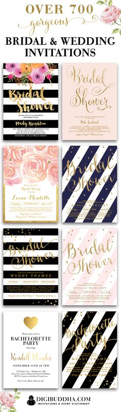 Over 700 gorgeous + original impressive bridal shower invitations and wedding invitations in styles ranging from modern to classic to elegant, glam, rustic and even boho chic. In any color and just about any fonts you can imagine. Plus add matching envelo Friend Wedding, Our Wedding, Dream Wedding, Wedding 2017, Save The Date Karten, Carton Invitation, Love Is In The Air, Wedding Stationary, Here Comes The Bride