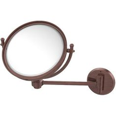 Allied Brass Wall Mounted Make-Up 2X Magnification Mirror with Groovy Detail Finish: Antique Copper