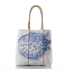 "Pufferfish Tote - Handmade from Reclaimed Sails - Medium with Hemp Rope Handles 14""h x 5.5""w x 14""l"
