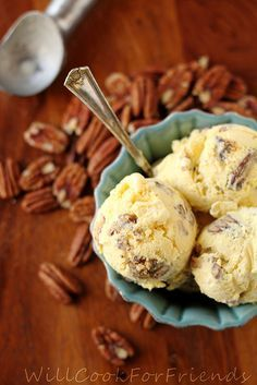 Browned-Butter Pecan Ice Cream ... Recipe made from scratch. Cool and Creamy mmm mmm Yum!