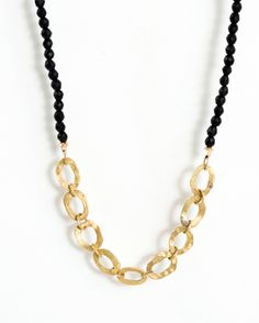 Chain Link Necklace by Shauna Blythe Burke. Hand made 18K gold chain link attached to a black agate strand. American Made. See the designer's work at the 2015 American Made Show, Washington DC. January 16-19, 2015. americanmadeshow.com #necklace, #jewelry, #chainlink, #18kgold, #blackagate, #americanmade