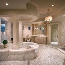 extensive use of Carrara marble, tumble stones- Master Bathroom - Dream Bathrooms, Dream Rooms, Beautiful Bathrooms, Master Bathrooms, Mansion Bathrooms, Luxury Bathrooms, Dream Home Design, My Dream Home, House Design