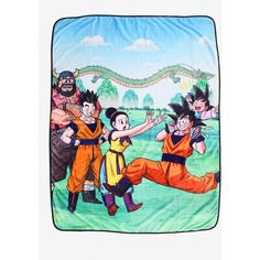 Dragon Ball Z Family Scene Throw Blanket ($21) ❤ liked on Polyvore featuring home, bed & bath, bedding, blankets, king throw blanket, plush animal blanket, king size throw blanket, king size throw and plush blanket throw