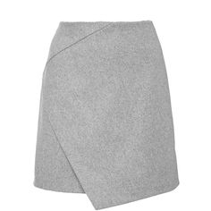 Carven Grey Wool Blend Draped Mini Skirt (458,160 KRW) ❤ liked on Polyvore featuring skirts, mini skirts, draped skirt, carven skirt, mini skirt, grey skirt and short skirts