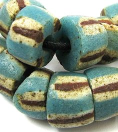 Old RARE Turquoise Color Striped Sandcast Glass African Trade Beads 16 Beads .