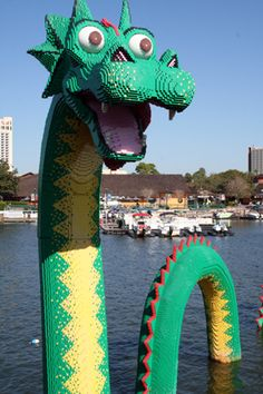 It's a Lego dragon and it's happy to see ya'!   Downtown Disney