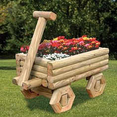 """Landscape Timber Wagon Planter Plan. Build this attractive wagon completely out of Landscape Timbers and place it in your yard with your favorite flowers planted inside! 45""""H x 40""""W x 28""""D Plan #2184 $12.95 ( crafting, crafts, woodcraft, pattern, woodworking, yard art, landscape timber, planter ) Pattern by Sherwood Creations"""
