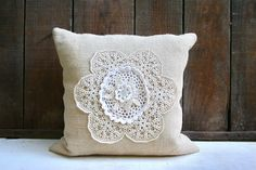 Professionally Made Burlap Pillow Cover with Vintage Doilies - Zipper Closure - Country Cottage Chic Home Decor. $30.50, via Etsy.
