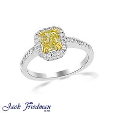 Fancy yellow baron cut diamond in halo setting. jackfriedman.co.za Halo Setting, Halo Engagement Rings, Baron, Beautiful Things, Diamond Cuts, Fancy, Yellow, Vintage, Jewelry