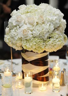 Wedding flowers centerpiece.  Roses and hydrangeas