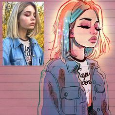 Illustrator Turns Strangers Into Manga-Like Characters, And The Result Is Pretty Awesome - Art Portrait Sketches, Art Drawings Sketches, Realistic Drawings, Cartoon Drawings, Cute Drawings, Portrait Art, Portraits, Awesome Drawings, Portrait Illustration