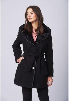 Μαύρο ημίπαλτο με κουκούλα και ζώνη Faux Fur, Blazer, Coat, Jackets, Shopping, Products, Fashion, Down Jackets, Moda
