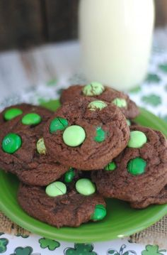 Mint M&M's Cookies- homemade and delicious! Perfect for St. Patrick's Day!