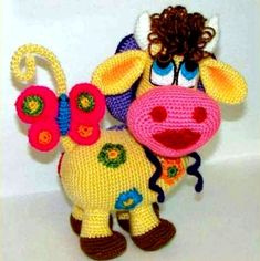 """Схема вязания игрушки """"Цветочная корова"""""""