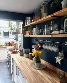 above a lot of inspiration about unique kitchen shelf shelves, so sure you don't want to replace it with a new kitchen shelf design like above? Kitchen Shelf Design, Kitchen Interior, Kitchen Storage, Apartment Kitchen, Open Kitchen Shelving, Diy Kitchen Shelves, Kitchen Rack, Open Cabinets In Kitchen, Small Kitchen Shelfs