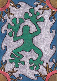 """ACEO """"Tropical Tree Frog Wealth Zentangle"""" Black Light Collectible Art Card"""