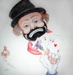 The Gambler 1987 by Red Skelton, Original Painting, Mixed Media on Linen