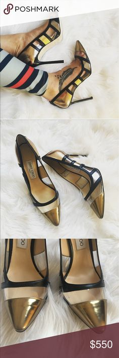 """Jimmy Choo """"Romy"""" pump sz: 8.5 NWOB Brand new, stunning Jimmy Choo AUTHENTIC Romy pump sz: 38.5/ US 8.5. No box. Runs small, best fits sz: 8. Colors are black, clear and metallic gold! Simplistic, versatile and absolutely stunning! Current retail- $795.00. Timeless elegance rules the day with this streamlined stiletto pump fashioned with a perfectly pointed toe. 3 3/4"""" (95mm) heel  Leather upper, lining and sole. By Jimmy Choo; made in Italy. Salon Shoes. Jimmy Choo Shoes Heels"""