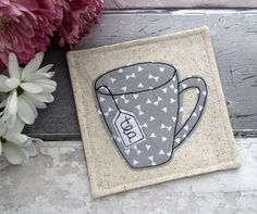 Grey Coasters, Mug Coasters, Modern Housewarming Gift, Coaster Set, Monochrome Decor, Tea Coasters, Gift For A Tea Lover, Fabric Gift by TheCornishCoasterCo on Etsy