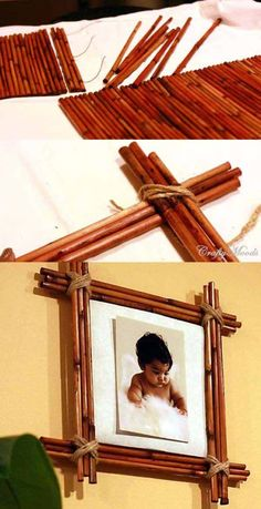Decorate Your Home With Creative DIY Bamboo Crafts - Decoration Ideas Diy Bamboo, Bamboo Poles, Bamboo Art, Bamboo Crafts, Bamboo Ideas, Diy Décoration, Easy Diy, Simple Diy, Bamboo Picture Frames