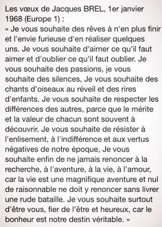 Vœux de Jacques Brel