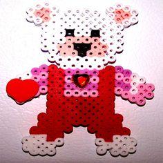 BEAR Heart Love3HANDMADEPerler Bead Magnet by CreativeXpression1, $7.00