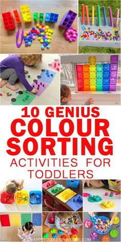15 Genius Colour Sorting Activities for Toddlers - HAPPY TODDLER PLAYTIME - - On a mission to get your toddler or preschooler to learn their colours? Check out this great list of genius colour sorting activities! Preschool Color Activities, Babysitting Activities, Toddler Learning Activities, Infant Activities, Fun Learning, Kindergarten Sorting Activities, Activities For 2 Year Olds Indoor, Toddler Color Learning, 18 Month Activities